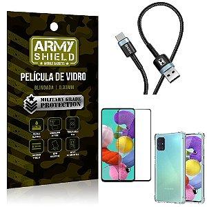 Cabo Usb Tipo C HS-302 Samsung A51 + Capinha + Película 3D - Armyshield