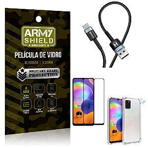 Cabo Usb Tipo C HS-302 Samsung A31 + Capinha + Película 3D - Armyshield