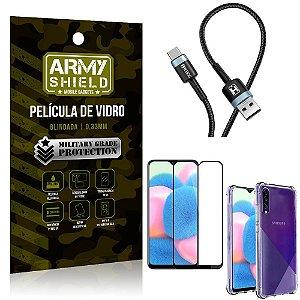 Cabo Usb Tipo C HS-302 Samsung A30S + Capinha + Película 3D - Armyshield