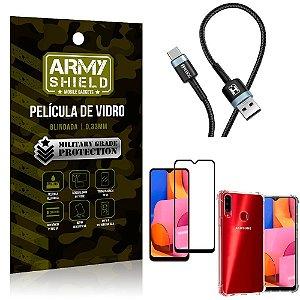 Cabo Usb Tipo C HS-302 Samsung A20S + Capinha + Película 3D - Armyshield