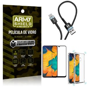Cabo Usb Tipo C HS-302 Samsung A20 + Capinha + Película 3D - Armyshield