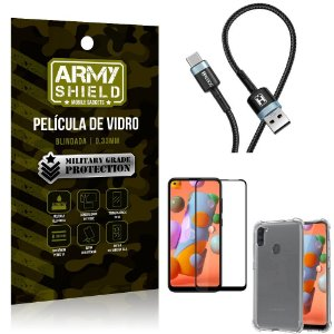 Cabo Usb Tipo C HS-302 Samsung A11 + Capinha + Pelicula 3D - Armyshield