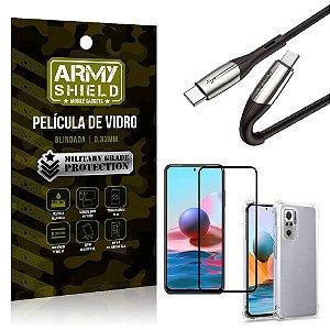 Cabo Usb Tipo C para Usb-C HS-167 Redmi Note 10 + Capinha + Película 3D - Armyshield