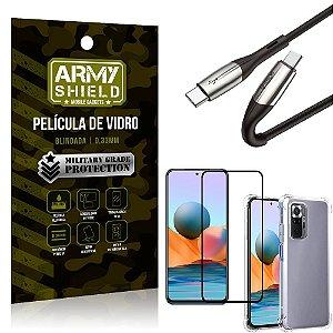 Cabo Usb Tipo C para Usb-C HS-167 Redmi Note 10 Pro + Capinha + Película 3D - Armyshield