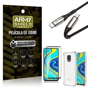 Cabo Usb Tipo C para Usb-C HS-167 Redmi Note 9S + Capinha + Película 3D - Armyshield