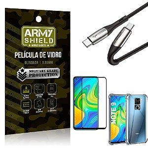Cabo Usb Tipo C para Usb-C HS-167 Redmi Note 9 + Capinha + Película 3D - Armyshield