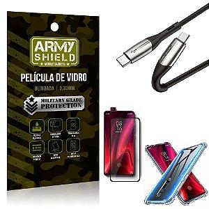 Cabo Usb Tipo C para Usb-C HS-167 Redmi K20 Mi 9T + Capinha + Película 3D - Armyshield