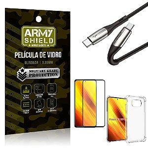 Cabo Usb Tipo C para Usb-C HS-167 Poco X3 + Capinha + Película 3D - Armyshield