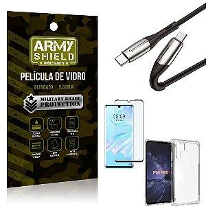 Cabo Usb Tipo C para Usb-C HS-167 Huawei P30 Pro + Capinha + Película 3D - Armyshield