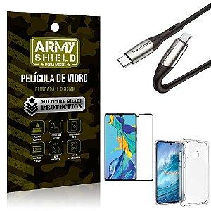 Cabo Usb Tipo C para Usb-C HS-167 Huawei P30 Lite + Capinha + Película 3D - Armyshield