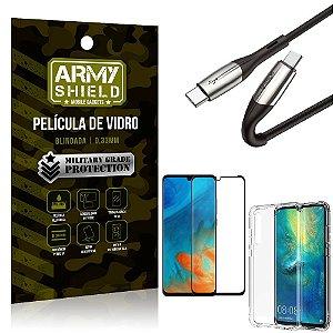 Cabo Usb Tipo C para Usb-C HS-167 Huawei P30 + Capinha + Película 3D - Armyshield