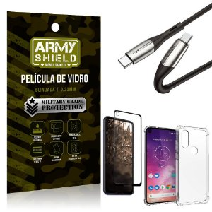 Cabo Usb Tipo C para Usb-C HS-167 Moto One Vision + Capinha + Película 3D - Armyshield