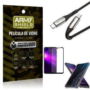 Cabo Usb Tipo C para Usb-C HS-167 Moto One Macro + Capinha + Película 3D - Armyshield