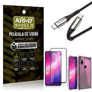 Cabo Usb Tipo C para Usb-C HS-167 Moto One Hyper + Capinha + Película 3D - Armyshield