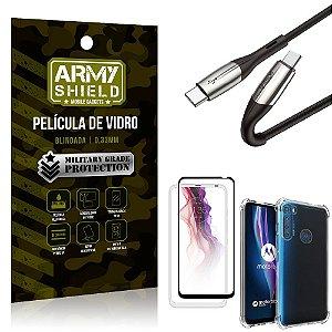 Cabo Usb Tipo C para Usb-C HS-167 Moto One Fusion Plus + Capinha + Película 3D - Armyshield