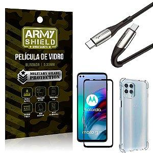 Cabo Usb Tipo C para Usb-C HS-167 Moto G100 + Capinha + Película 3D - Armyshield