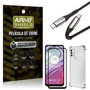 Cabo Usb Tipo C para Usb-C HS-167 Moto G20 + Capinha + Película 3D - Armyshield