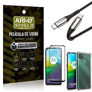 Cabo Usb Tipo C para Usb-C HS-167 Moto G9 Power + Capinha + Película 3D - Armyshield