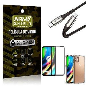 Cabo Usb Tipo C para Usb-C HS-167 Moto G9 Plus + Capinha + Película 3D - Armyshield