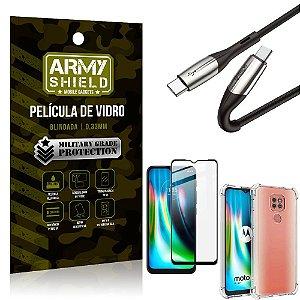 Cabo Usb Tipo C para Usb-C HS-167 Moto G9 Play + Capinha + Película 3D - Armyshield