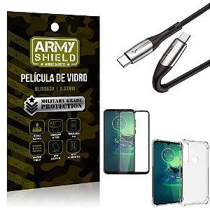 Cabo Usb Tipo C para Usb-C HS-167 Moto G8 Play + Capinha + Película 3D - Armyshield