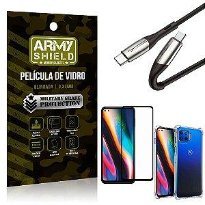 Cabo Usb Tipo C para Usb-C HS-167 Moto G 5G Plus + Capinha + Película 3D - Armyshield