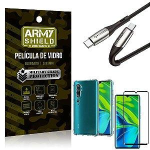 Cabo Usb Tipo C para Usb-C HS-167 Mi Note 10 - Note 10 Pro + Capinha + Película 3D - Armyshield