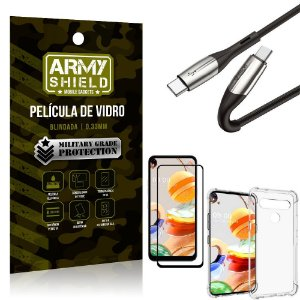 Cabo Usb Tipo C para Usb-C HS-167 LG K61 + Capinha + Película 3D - Armyshield