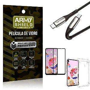 Cabo Usb Tipo C para Usb-C HS-167 LG K51s + Capinha + Película 3D - Armyshield