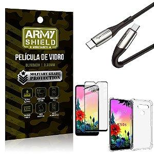 Cabo Usb Tipo C para Usb-C HS-167 LG K50s + Capinha + Película 3D - Armyshield