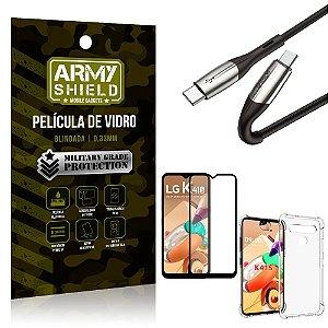 Cabo Usb Tipo C para Usb-C HS-167 LG K41s + Capinha + Película 3D - Armyshield
