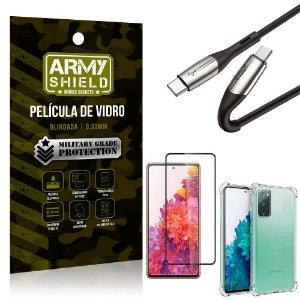 Cabo Usb Tipo C para Usb-C HS-167 Samsung S20 FE + Capinha + Película 3D - Armyshield