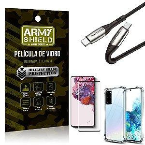Cabo Usb Tipo C para Usb-C HS-167 Samsung S20 Plus + Capinha + Película 3D - Armyshield