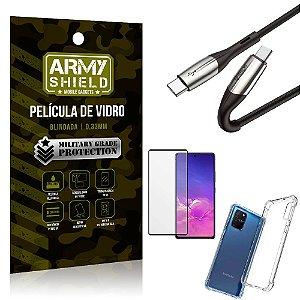 Cabo Usb Tipo C para Usb-C HS-167 Samsung S10 Lite + Capinha + Película 3D - Armyshield