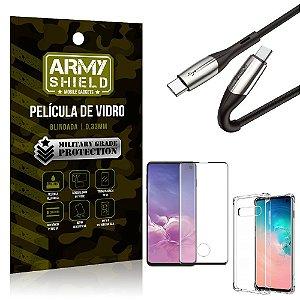 Cabo Usb Tipo C para Usb-C HS-167 Samsung S10 + Capinha + Película 3D - Armyshield