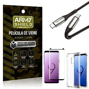 Cabo Usb Tipo C para Usb-C HS-167 Samsung S9 + Capinha + Película 3D - Armyshield