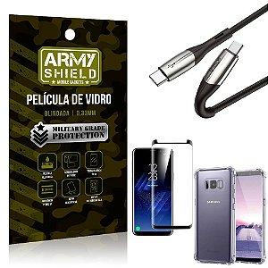 Cabo Usb Tipo C para Usb-C HS-167 Samsung S8 Plus + Capinha + Película 3D - Armyshield