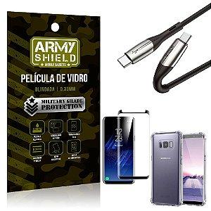 Cabo Usb Tipo C para Usb-C HS-167 Samsung S8 + Capinha + Película 3D - Armyshield
