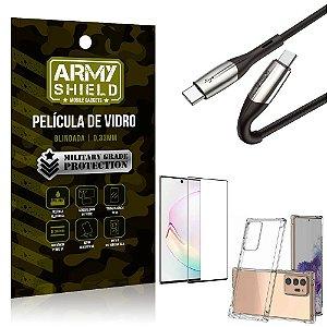 Cabo Usb Tipo C para Usb-C HS-167 Samsung Note 20 Ultra + Capinha + Película 3D - Armyshield
