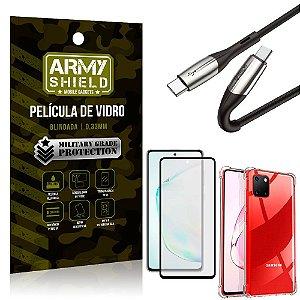 Cabo Usb Tipo C para Usb-C HS-167 Samsung Note 10 Lite + Capinha + Película 3D - Armyshield