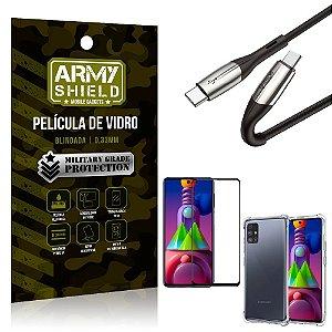Cabo Usb Tipo C para Usb-C HS-167 Samsung M51 + Capinha + Película 3D - Armyshield