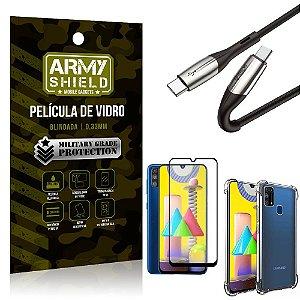 Cabo Usb Tipo C para Usb-C HS-167 Samsung M31 + Capinha + Película 3D - Armyshield
