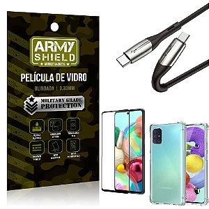 Cabo Usb Tipo C para Usb-C HS-167 Samsung A71 + Capinha + Película 3D - Armyshield