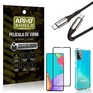 Cabo Usb Tipo C para Usb-C HS-167 Samsung A52 + Capinha + Película 3D - Armyshield