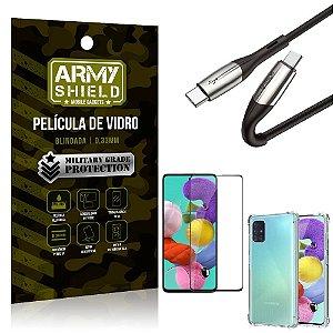 Cabo Usb Tipo C para Usb-C HS-167 Samsung A51 + Capinha + Película 3D - Armyshield