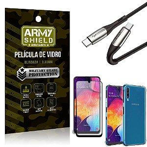 Cabo Usb Tipo C para Usb-C HS-167 Samsung A50 + Capinha + Película 3D - Armyshield
