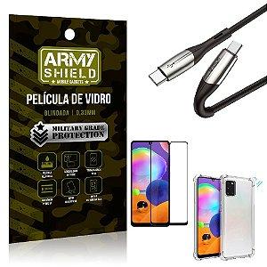 Cabo Usb Tipo C para Usb-C HS-167 Samsung A31 + Capinha + Película 3D - Armyshield