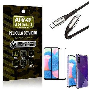 Cabo Usb Tipo C para Usb-C HS-167 Samsung A30S + Capinha + Película 3D - Armyshield