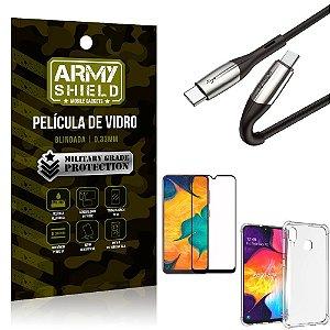 Cabo Usb Tipo C para Usb-C HS-167 Samsung A30 + Capinha + Película 3D - Armyshield