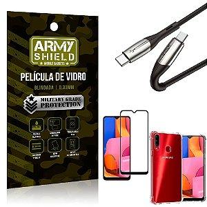Cabo Usb Tipo C para Usb-C HS-167 Samsung A20S + Capinha + Película 3D - Armyshield
